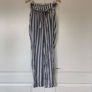 Blue and white stripped paper bag pants